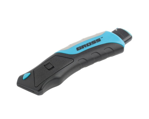 Нож ремонтно-монтажный, трехкомпонентная рукоятка, кнопочный автовыброс, возврат лезвия, 175 мм, 5 запасных лезвий Gross