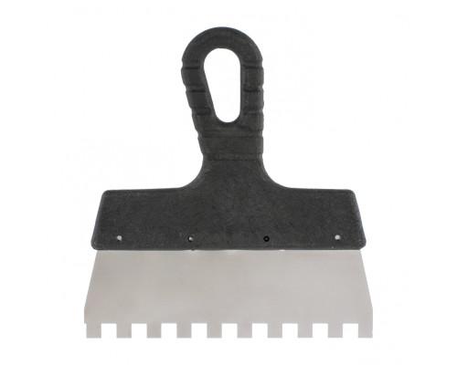 Шпатель из нержавеющей стали, 150 мм, зуб 10 х 10 мм, пластмассовая ручка Sparta