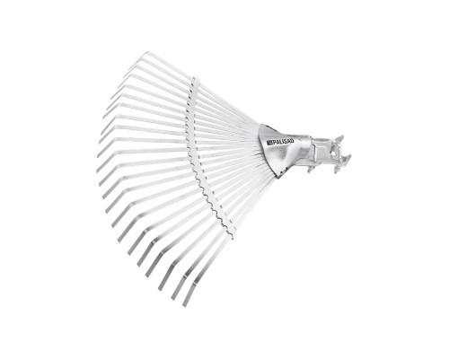 Грабли веерные стальные, 380 мм, 22 плоских зуба, регулируемая тулейка, без черенка Palisad
