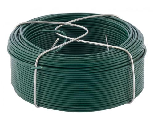 Проволока с ПВХ покрытием, зеленая 1,5 мм, длина 50 м Сибртех