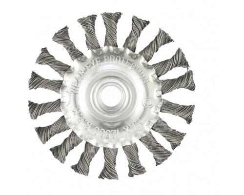 Щетка для УШМ 100 мм, М14, плоская, крученая проволока 0,5 мм Matrix