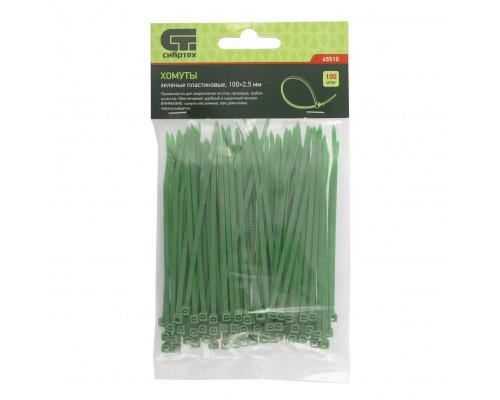 Хомуты, 100 x 2,5 мм, пластиковые, зеленые, 100 шт Сибртех