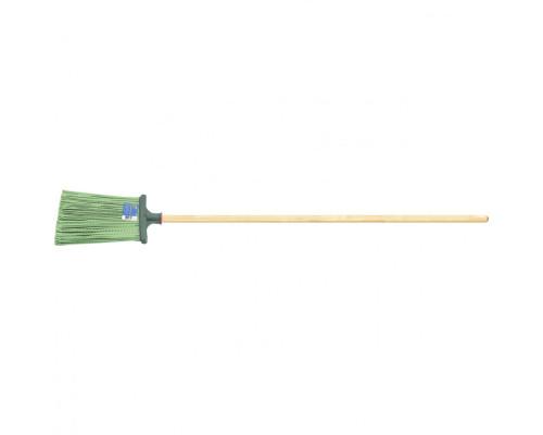 Метла полипропиленовая, 270 x 260 x 1490 мм, плоская распушенная, деревянный черенок, Россия Сибртеx