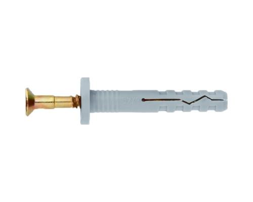 Дюбель-гвоздь полипропиленовый с цилиндрическим бортиком 6 х 40 мм, 200 шт Сибртех