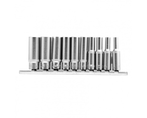 Набор удлиненных торцевых головок 1/4, шестигранные, CrV, 10 шт., 4-13 мм Stels