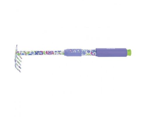 Грабли 5-зубые, 85 х 440 мм, стальные, удлиненная рукоятка, Flower Mint Palisad