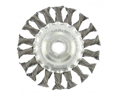 Щетка для УШМ 100 мм, М14, плоская, крученая проволока 0,35 мм Matrix