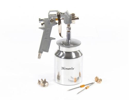 Краскораспылитель пневматический с нижним бачком V 1, 0 л, сопло D 1.2, 1.5 и 1.8 мм Matrix