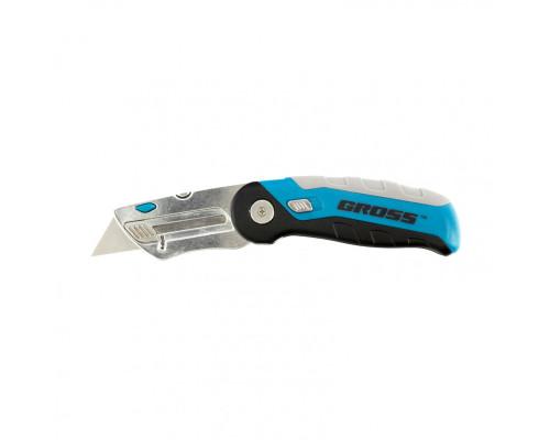 Нож ремонтно-монтажныйный, складной, трехкомпонентная рукоятка, контейнер-держатель для лезвий, 175 мм, 2 запасных лезвия Gross
