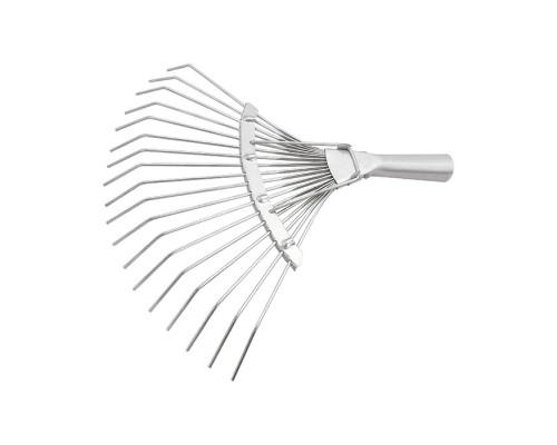 Грабли веерные стальные, 360 мм, 18 круглых зубьев, оцинкованные, без черенка, Россия Сибртех