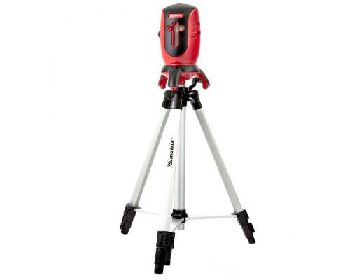 """Уровень лазерный ML01T, дальность 10 м, точность ± 0,5 мм. / 1 м, длина волны 650 нм, проекция 1 вертикальная 1 горизонтальная плоскость, резьба под штатив 5/8"""", штатив в комплекте Matrix"""