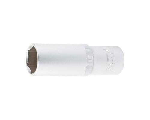 Головка торцевая удлиненная, 17 мм, шестигранная, CrV, под квадрат 1/2 Stels