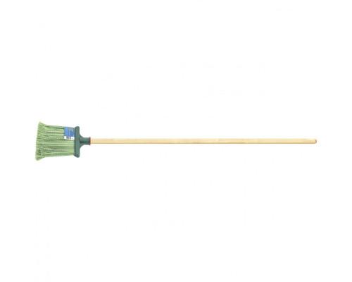 Метла полипропиленовая, 240 x 160 x 1400 мм, плоская распушенная, деревянный черенок, Россия Сибртеx