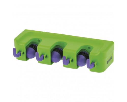 Пластиковый настенный держатель для садово-огородного инструмента, 3 ячейки, 4 крюка Palisad