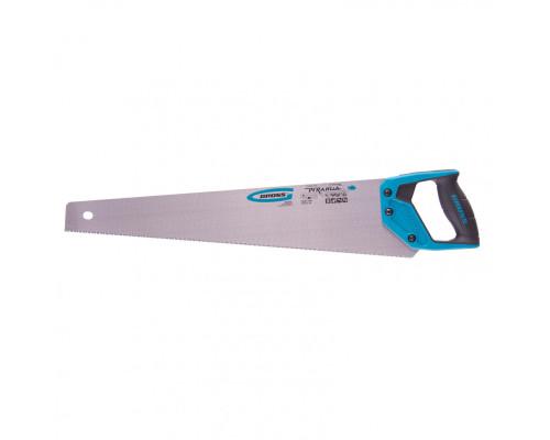 "Ножовка по дереву ""Piranha"", 550 мм, 11-12 TPI, зуб-3D, каленый зуб, двухкомпонентная рукоятка Gross"