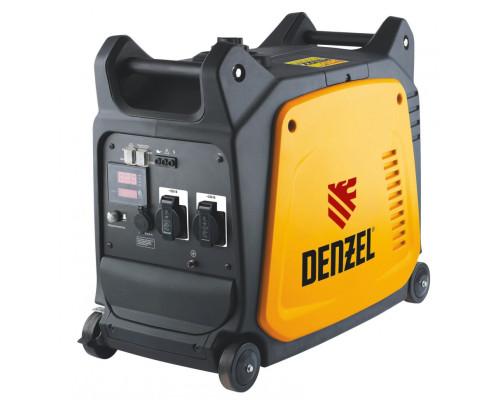 Генератор инверторный GT-3500i, X-Pro 3.5 кВт, 220 В, цифровое табло, бак 7.5 л, ручной старт Denzel