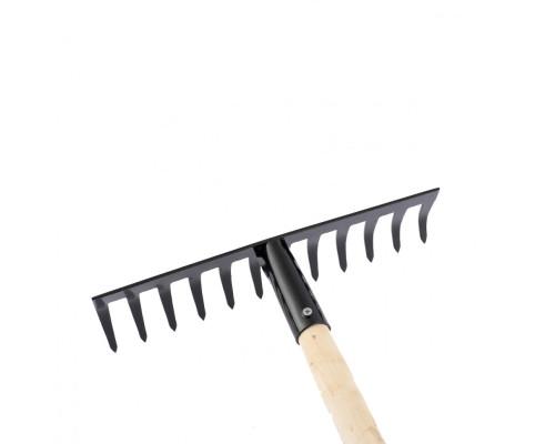 Грабли стальные, 300 х 1300 мм, 12 прямых зубьев, деревянный черенок, Россия Сибртех