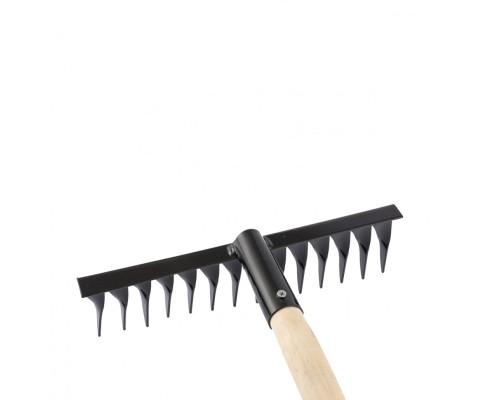 Грабли стальные, 300 х 1300 мм, 14 витых зубьев, деревянный черенок, Россия Сибртех