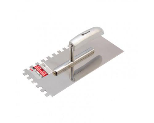 Гладилка из нержавеющей стали, 280 x 130 мм, деревянная ручка, зуб 10 x 10 мм Matrix