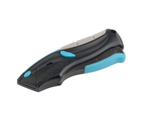 Нож ремонтно-монтажный, трехкомпонентная рукоятка, автовыброс, возврат лезвия, пистолетного типа, 170 мм, 5 запасных лезвий Gross