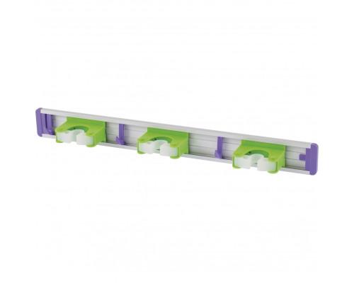 Алюминиевый настенный держатель для садово-огородного инструмента, 3 ячейки, 3 крюка Palisad