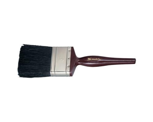 """Кисть плоская """"Декор"""" 3"""" (75 мм), натуральная черная щетина, деревянная ручка MTX"""