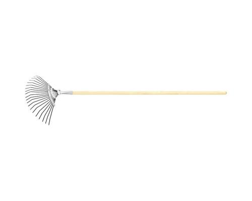 Грабли веерные стальные, 385 х 1500 мм, 20 плоских зубьев, деревянный черенок, Россия Сибртех